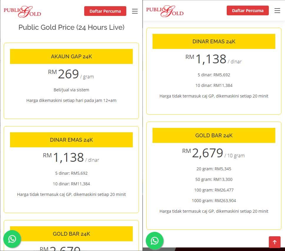 public gold live price